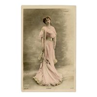 Unposted, undivided back, French, real photo postcard of Marie-Thérèse Piérat by Reutlinger