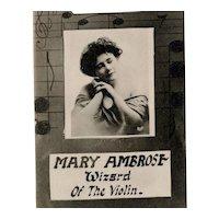 Rare, real photo, antique postcard of Vaudeville theater violin aficionado Mary Ambrose