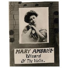 Rare, real photo, antique postcard of Vaudeville theater violin aficionado Mary Ambrose