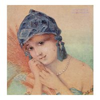 Unposted, French, artist signed Kirchner postcard of a glamorous woman