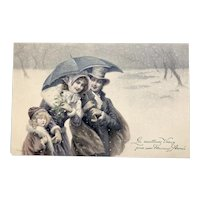 Charming, New Years, M M Vienne, Artist Signed Wichera postcard of a family
