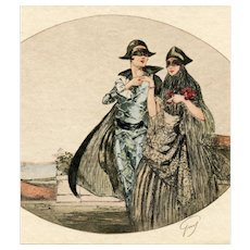 French, Art Deco, artist signed postcard of glamorous couple at masquerade