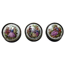 Set of three miniature Limoges Fragonard plates of couples courting
