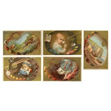 Set of five, French, Victorian, gilded, chromolithograph, collectible trade cards of artists palettes