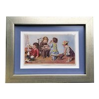 Darling framed Victoria sewing card advertisement with children playing