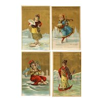 Set of 4 French, gilded trade cards for Christian store featuring women as seas