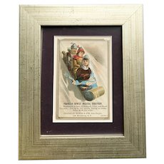 Framed Wonderful Medical Advertising Ephemera of children sledding
