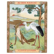 French, gilded, Art Nouveau, Au Bon Marche trade card: Aesop's fable wolf and crane