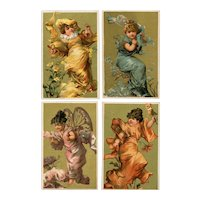 Set of 4 fabulous, gilded French trades cards of women as jewels