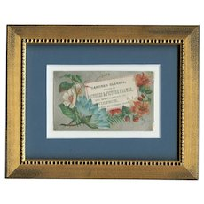 Framed Victorian trade card for store in Providence Rhode Island of flowers
