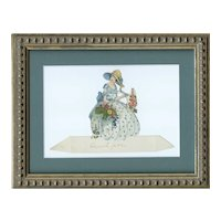 Framed vintage place card of a beautiful woman in a garden