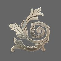 Mexican 925 Sterling Rococo Engraved Spiral Brooch