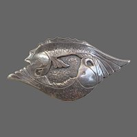 Handmade Sterling Entwined Fish Pisces Brooch