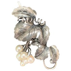 Articulated Repoussé Sterling-and-Cultured Pearls Grape Cluster Brooch