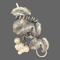 Articulated Sterling-and-Cultured Pearls Grape Cluster Brooch
