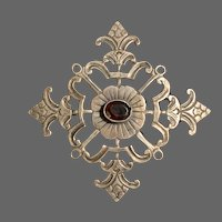 Victorian-Style Stamped Sterling with Garnet Brooch