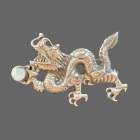 Tibetan Sterling Repoussé Dragon with Moonstone Brooch