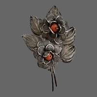Coral in 800 Silver Filigree Brooch