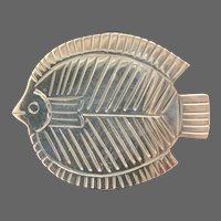Modernist Mexican Sterling Fish Brooch