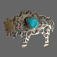 Signed Navajo Buffalo with Turquoise Brooch