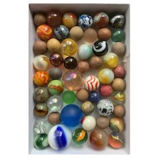 Box of 54 Vintage and Antique Marbles