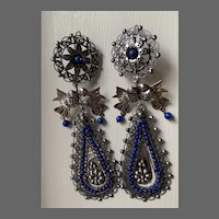 Long Frida Kahlo-style Mexican Sterling & Lapis Earrings