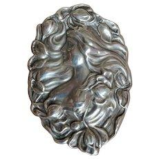 Art Nouveau Sterling Brooch, Bust of a Woman