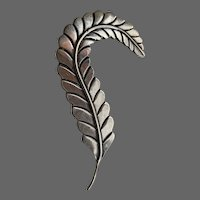 Vintage Mexican F. Torres Sterling Deco-Style Feather Brooch