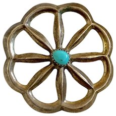 Sand Cast Navajo Medicine Wheel Brooch with Turquoise Center