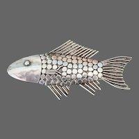 Vintage Handcrafted Sterling Fish Brooch