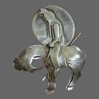 """Native American on Horseback """"At the End of the Trail"""" Sterling Brooch"""