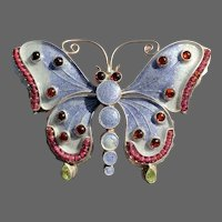 Enameled Sterling Butterfly Brooch with Garnets and Peridots