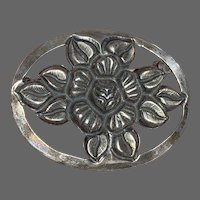 Tobias A. Signed Floral Oval Sterling Repoussé Brooch