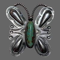 Yazzie Signed Navajo Sterling Butterfly Brooch with Turquoise Body