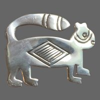Vintage Folk Art Signed Sterling Raccoon Pin
