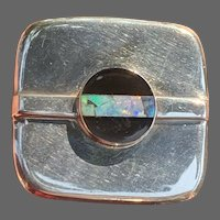 Vintage Great Falls Metal Works Modernist Sterling with Inlaid Onyx and Opal Brooch