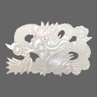 Cool Vintage-Retro Carved Mother of Pearl Dragon Pin