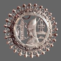 40's Egyptian Tourist Brooch with Pharaoh in Sterling