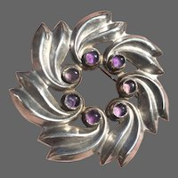 Early Mexican Sterling Floral Starburst Brooch with Amethysts