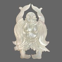 Vintage Hand-Carved Mother-of-Pearl Happy Buddha Pin