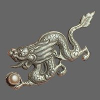 Vintage Tibetan Sterling Dragon with Cultured Pearl Brooch