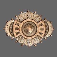 Antique Sterling Aesthetic Movement Brooch with 9K Rose Gold