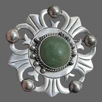 Early Mexican Sterling with Faux Jade Brooch