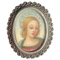 Fine Victorian Hand-Painted Miniature Madonna Pin