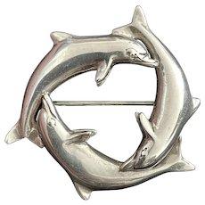 Vintage Kabana Triskelion Dolphins Brooch