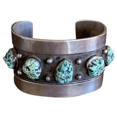 Old Pawn Native American Sterling Cuff with Spiderweb Turquoise