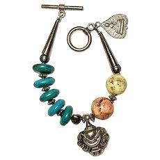 Vintage Variety Beads and Buddha, Sterling Pixiu Charm Bracelet