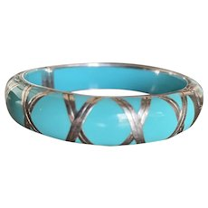 Vintage Angelique de Paris Turquoise Lucite with Sterling Bangle