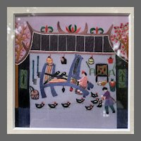 Framed Modern Chinese Silk Needlework of Farmhouse Tableau with Chickens, Cat, and Weaver