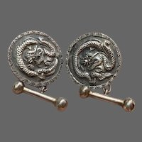 Asian Vintage Hand-Made Sterling Dragon Cufflinks